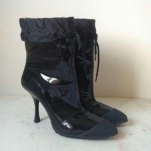 MIU MIU - patent leather rubber toe nylon top boot